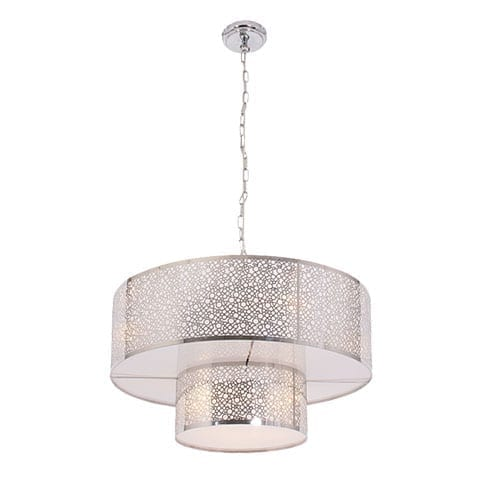 Polished chrome chandelier with perspex shade lamp factory open lightbox aloadofball Choice Image