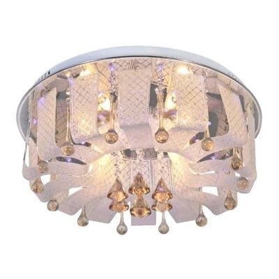 Ekeka Chrome Ceiling Light with Glass Crystals