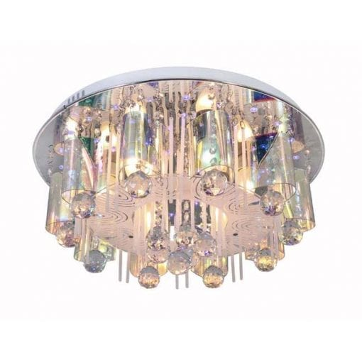 Chrome Ceiling Light with Patterned Glass