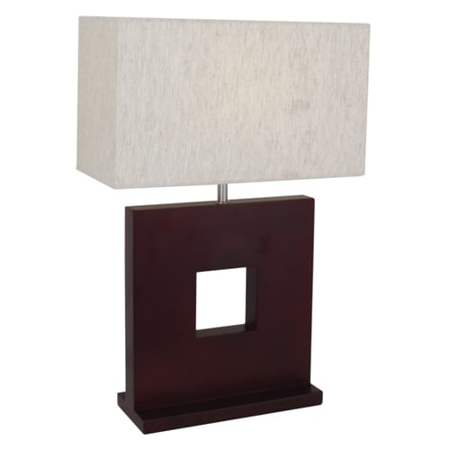 Brown Wooden Table Lamp Cream Fabric Lamp Shade