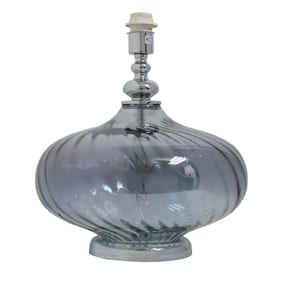 Bottle Blue Glass Table Lamp with Satin Chrome details