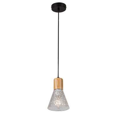 Lucca Pendant Black & Wood & Clear Glass