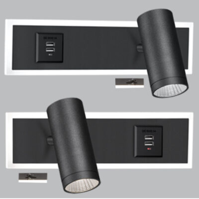 Aluminium and Acrylic Bedside Wall Bracket Set (2 per box) with 2 USB Ports and 2 Switches